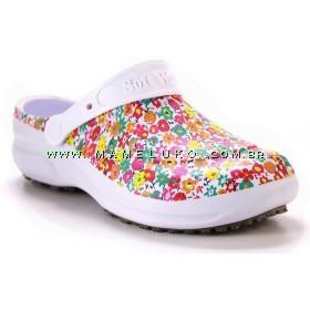 Babuche Profissional Soft Works Estampado - Branco com Estampa Flores