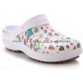 Babuche Profissional Soft Works Estampado - Branco com Estampa Coração e Bolas