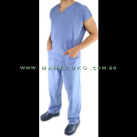 Pijama Cirúrgico Unisex - Conjunto Blusa e Calça - Azul