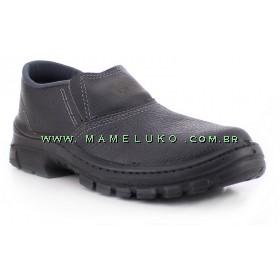 Sapato Elástico em Couro com CA - Preto