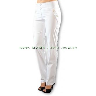 Calça Namastê Feminina Em Sarja com Nervuras - Branca