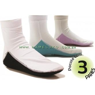 Kit com 3 pares de Meia Onfit Soquete com Solado Colorido - Branco