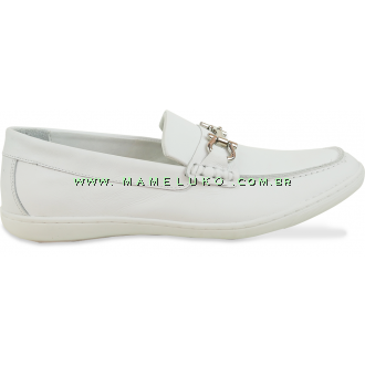 Sapato Masculino em Couro 742 Fivela - Branco