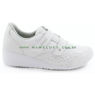 Tênis Kolosh C0307 Anabela com Velcro Duplo - Branco