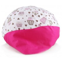 Touca Elástica Profissional Cupcake - Branca com Aba Pink