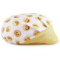 Touca Elástica Profissional Emoticons - Branca com Aba Amarela