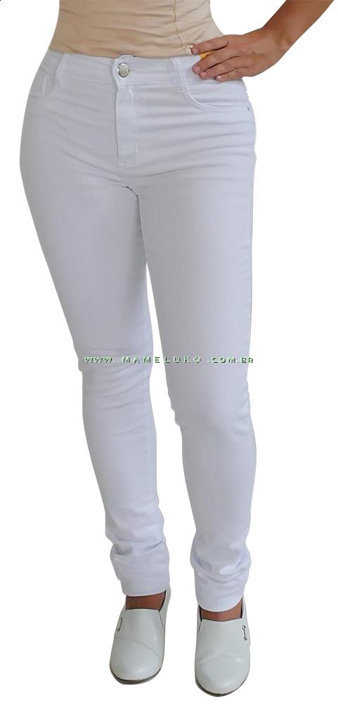 37975a70d Calça Jeans Feminina Sawary Skinn Branco na Mameluko