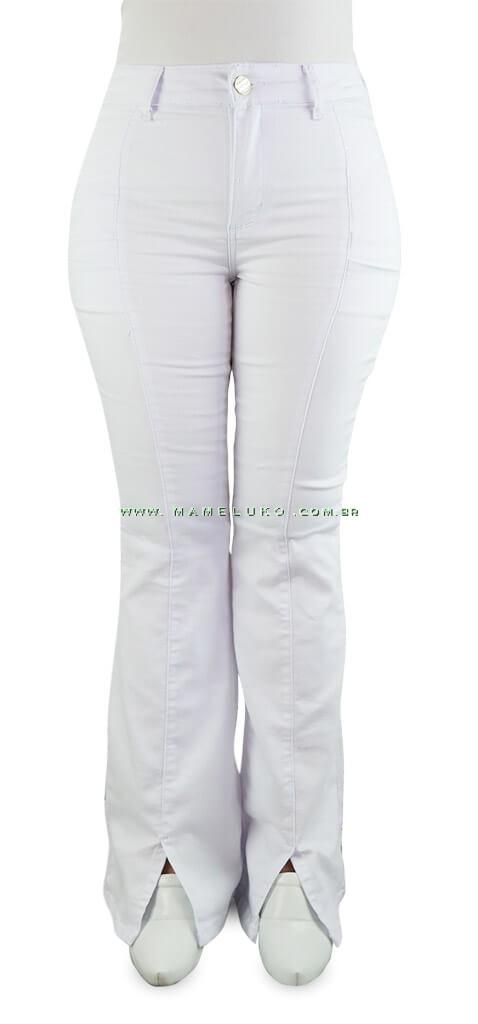 493cf35fd5 Calça Jeans Feminina Sawary Flare Hot Pants com Fenda na Barra - Branca