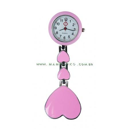 Relógio de Jaleco Metal Coração - Rosa