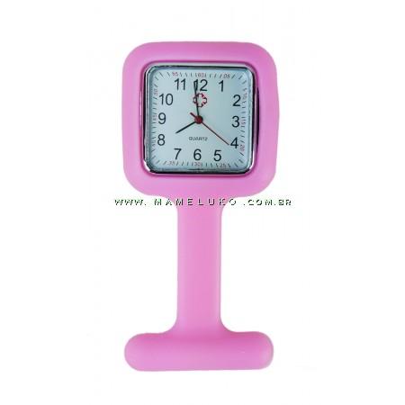 Relógio de Jaleco Silicone Quadrado - Rosa