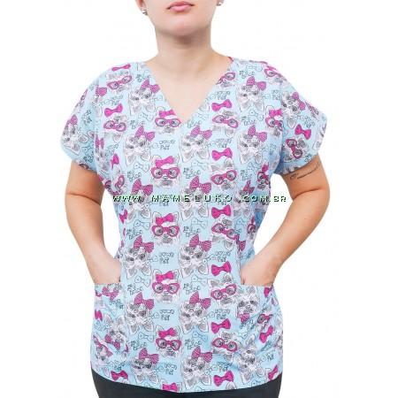 Blusa Scrubs Modelo Bata Hospitalar Estampa Cachorrinho com Laço - Verde Medicina
