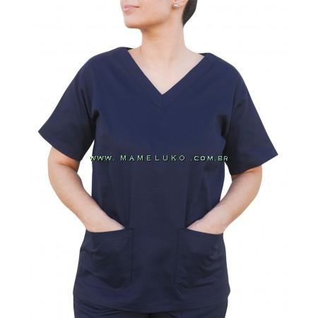 Blusa Profissional Brim Com 2 Bolsos Estilo Scrubs - Azul Marinho