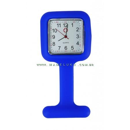 Relógio de Jaleco Silicone Quadrado - Azul