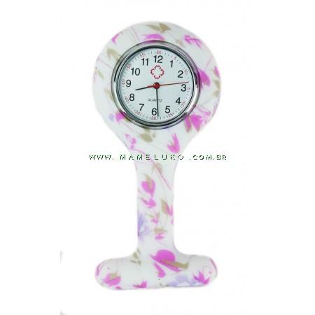 Relógio de Jaleco Silicone Estampada Rosas - Branco