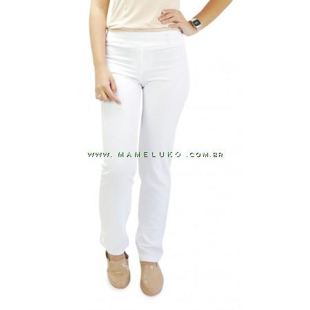 Calça Feminina 4 Botões até Tamanho 58 Plus Size - Branco