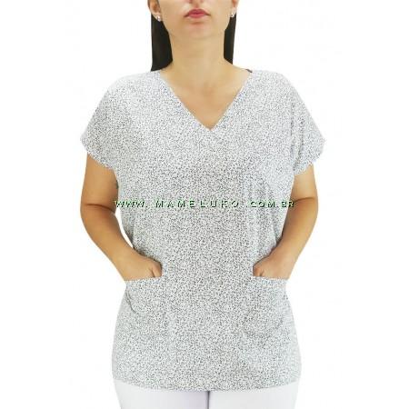 Blusa Scrubs Hospitalar Estampa Folhas - Branca