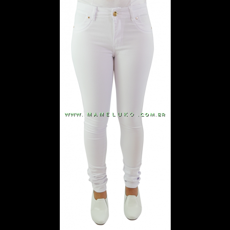 Calça Feminina Sawary Skinny Cintura Média - Branca