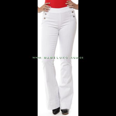 Calça Jeans Feminina Sawary Flare Hot Pants com Botões Laterias - Branca