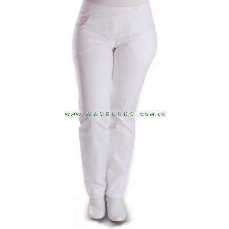 Calça Namastê Feminina Sarja Bolso Quadrado - Branca