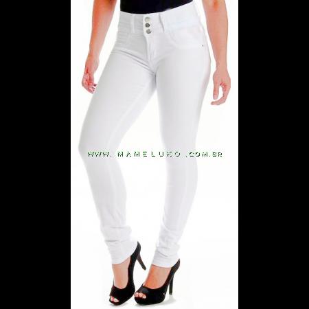 Calça Jeans Feminina Sawary Skinny Três Botões - Branca