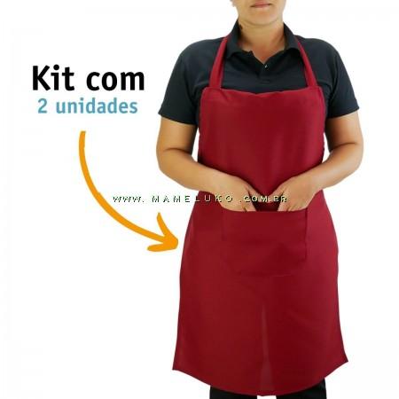 Kit 02 Avental Profissional Poliéster - Vinho