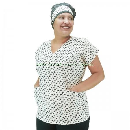 Blusa Scrubs Modelo Bata Hospitalar Estampa Pet Patinhas - Branco e Preto