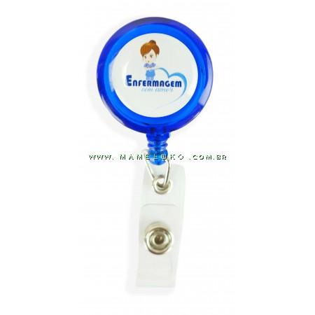 Porta Crachá Retrátil Enfermagem com Amor - Azul Translucido