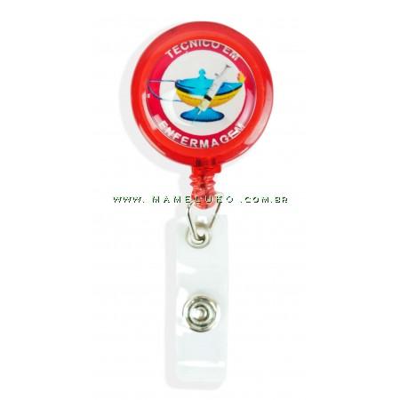 Porta Crachá Retrátil Técnico Enfermagem - Vermelho Translucido