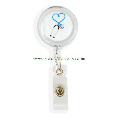 Porta Crachá Retrátil Esteto Coração Azul - Translucido