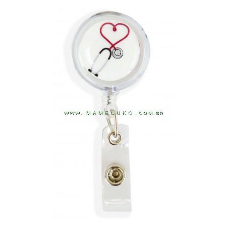 Porta Crachá Retrátil Esteto Coração Vermelho - Translucido