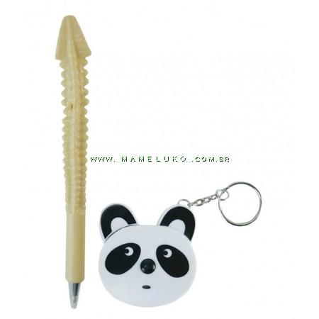 Kit Fita Métrica Corporal 1,50mt Urso Panda Branco + Caneta Anatomia Osso Coluna Vertebral Creme