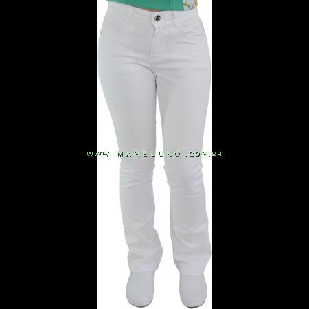 Calça Feminina Cintura Alta Boca Larga com Strech - Branco