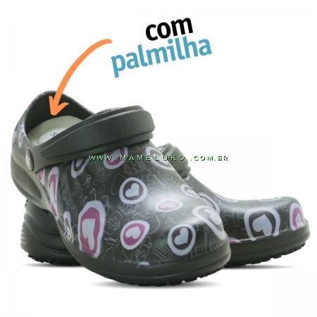 Babuche Profissional Soft Works Estampado Com Palmilha - Corações Rosas - Preto