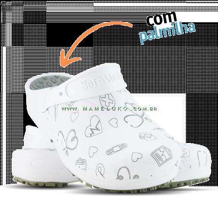 Babuche Profissional Plus Estampado com Palmilha Área da Saúde - Branco