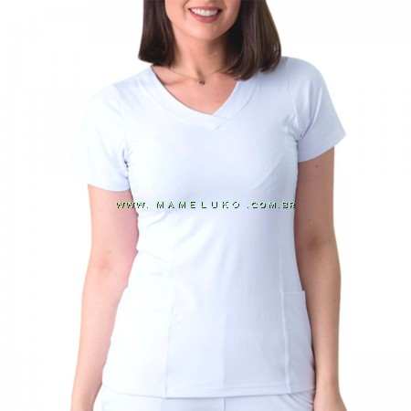 Scrubs Dry Fit Blusa Feminina - Branco