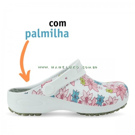Babuche Profissional Plus Estampado com Palmilha - Flor Rosa