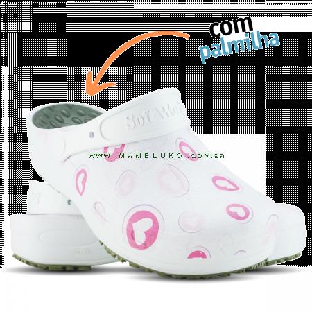 Babuche Profissional Plus Estampado com Palmilha Corações Rosas - Branco