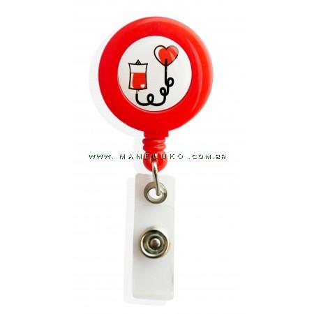Porta Crachá Retrátil Doação de Sangue - Vermelho