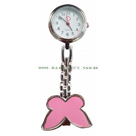 Relógio de Jaleco Metal Borboleta - Rosa