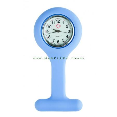 Relógio de Jaleco Silicone - Azul Bebê
