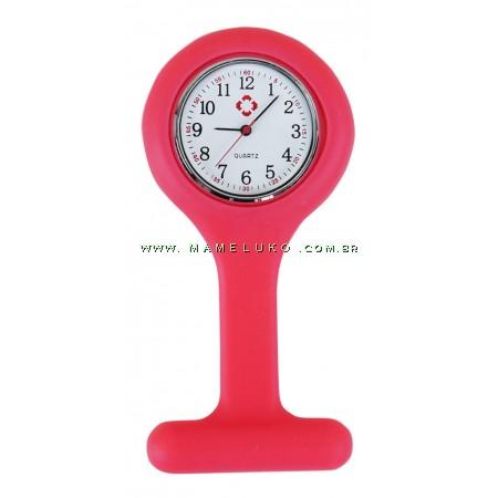 Relógio de Jaleco Silicone - Coral