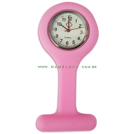 Relógio de Jaleco Silicone - Rosa