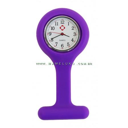 Relógio de Jaleco Silicone - Roxo