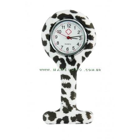 Relógio de Jaleco Silicone Estampada Zebra - Branco