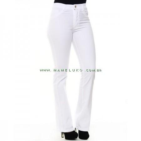 Calça Jeans Feminina Sawary Flare Hot Pants Detalhe Dourado - Branca
