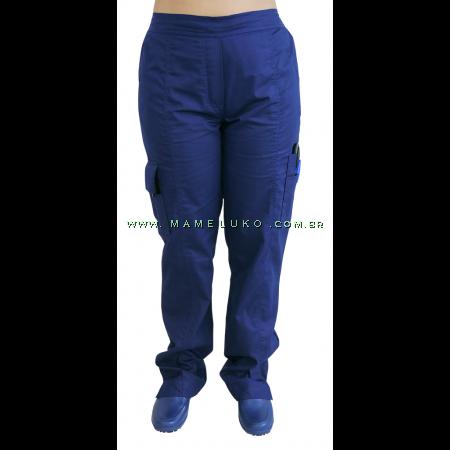 Scrubs Calça Feminina 7 Bolsos - Azul Marinho