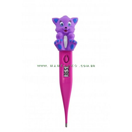 Termômetro Digital Kids Incoterm Gatinho - Roxo/Pink
