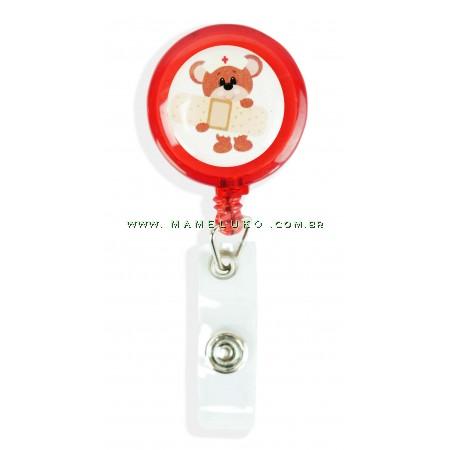 Porta Crachá Retrátil Ursinho Cuidador - Vermelho Translucido