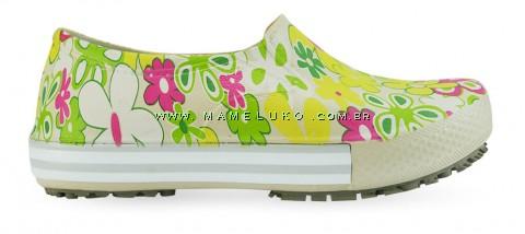 Tenis Profissional Iate Works II Estampado Flor Verde - Bege