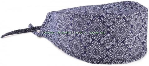 Bandana Profissional Estampada Arabesco - Azul Marinho